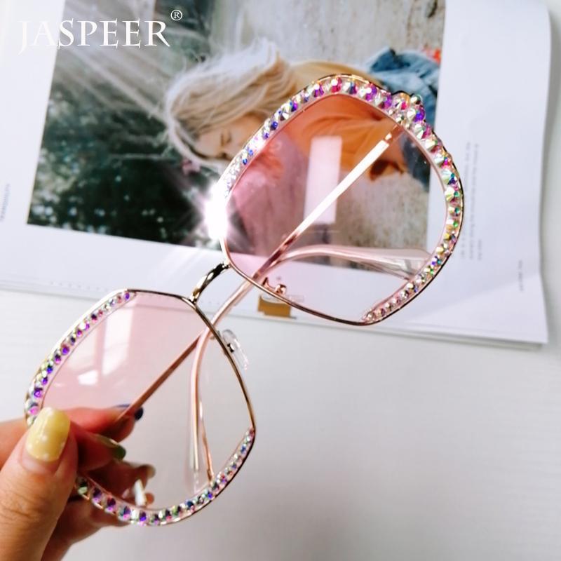 Jaspeer Diamond Strass Sonnenbrille Frauen Männer Luxus Kristall Sonnenbrille Klare Linse Übergroße Rahmen Sonnenbrille Vintage Töne