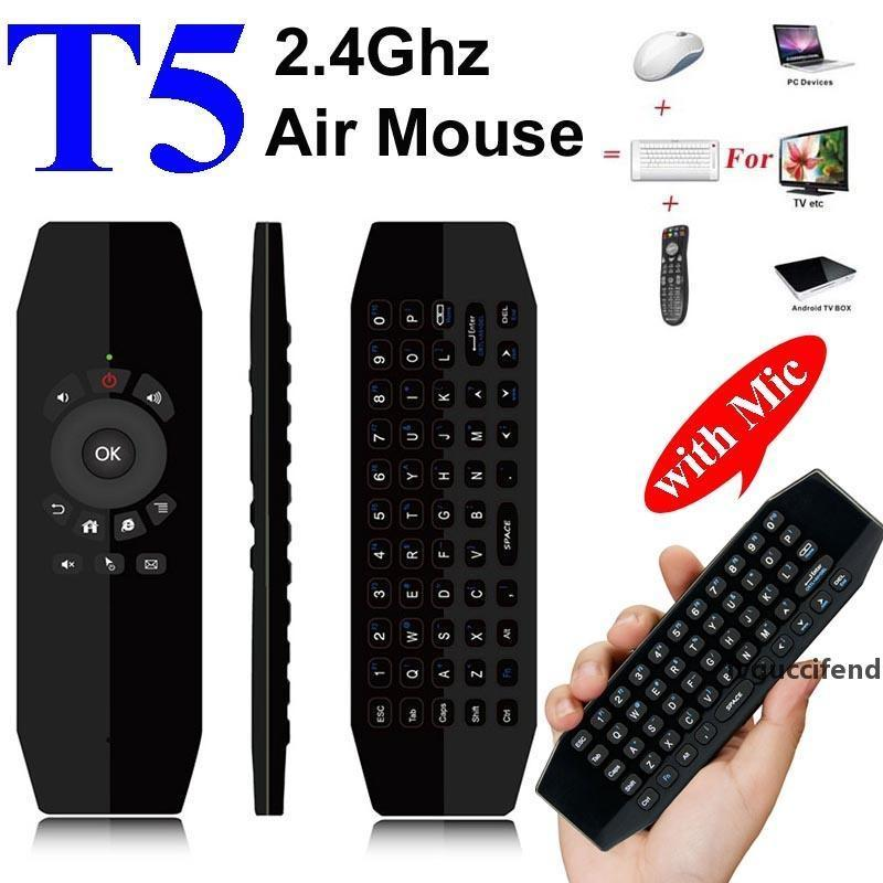T5 Mic 2.4G Wireless Fly Air Mouse with Microphone Voice Universal Remote Control Keyboard IR Learning Mini Keyboard For Android TV Box PC