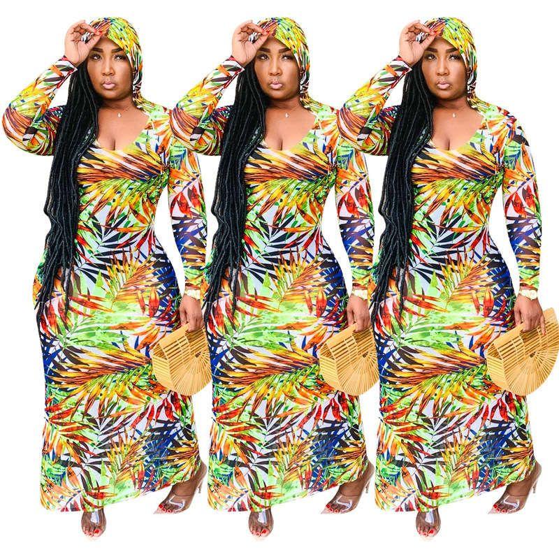 Q646 women's digital printed Bohemian Long Sleeve Dress