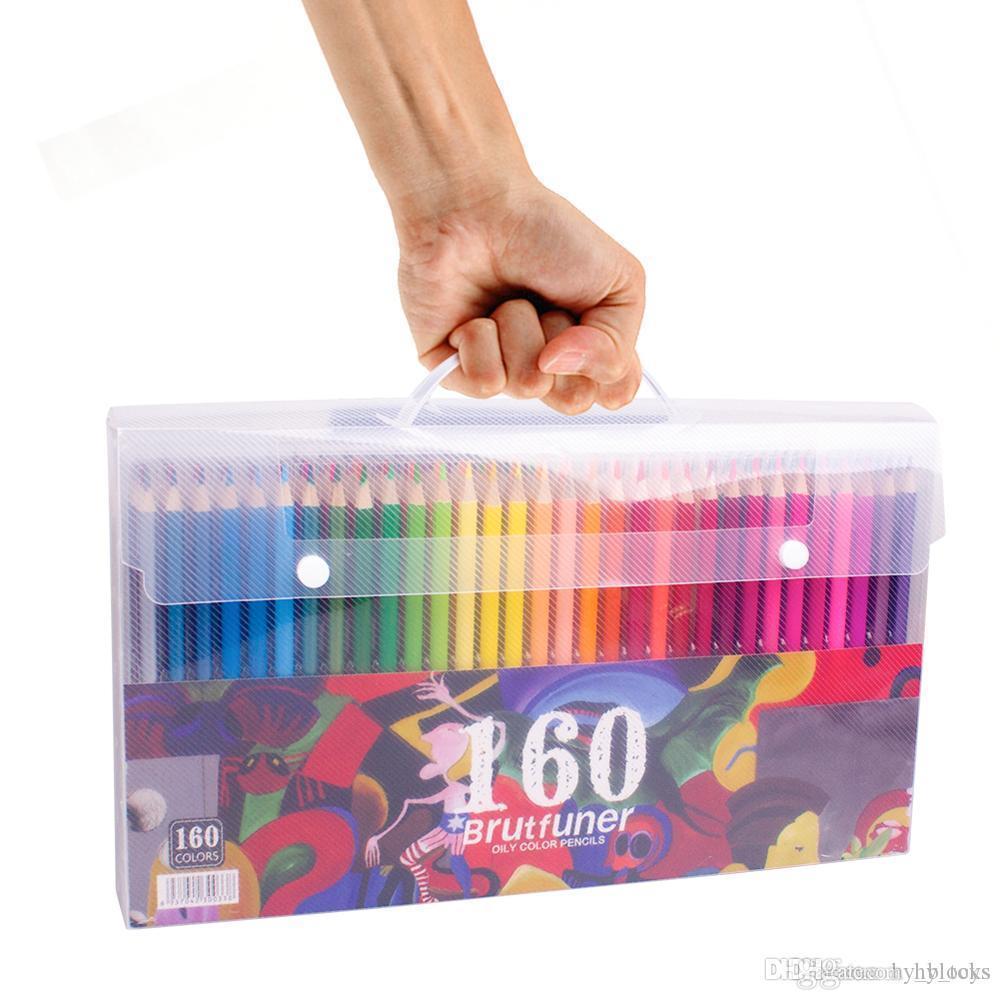 48 72 120 160 Renkler Ahşap Renkli Kalemler Set Yağı HB Prismacolor Için Çizim Kroki Renkli Kalemler Okul Hediyeler Sanat Malzemeleri Y200428