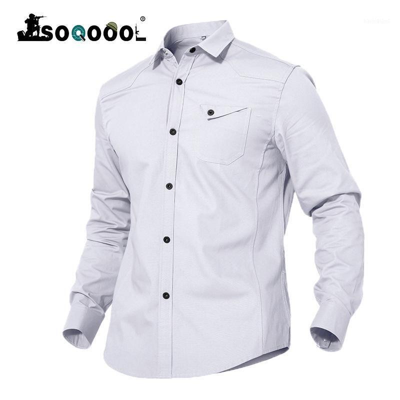 Soqoool Herrenhemden Taktische Männer Casual Cotton Hemd Sommer Mode Slim Fit Langarm Hemden Männer Kleidung1