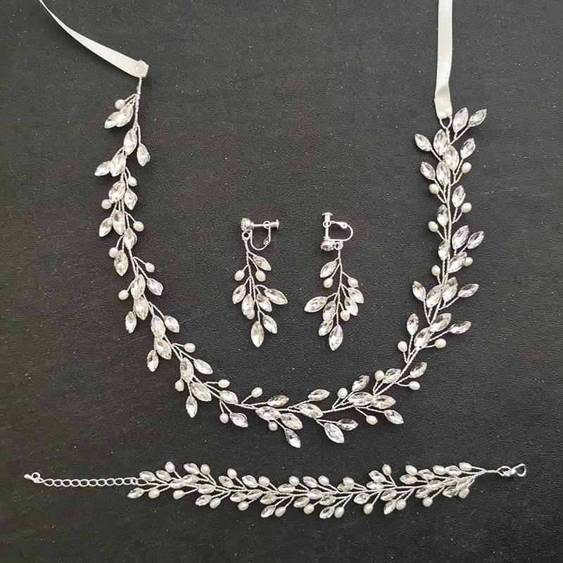 Slbridal Hecho a mano perlas de agua dulce Cristal austriaco Bridal Joyería Set de la boda Diadema Pulsera Pendiente Pendiente Set Mujer Joyería Q1123
