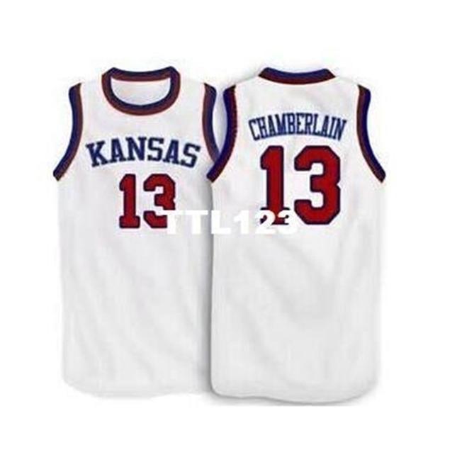 Yaş 888 # 13 Wilt Chamberlain Kansas Jayhawks Ku Kolej Forması Boyutu S-4XL veya Özel Herhangi bir isim veya numara forma