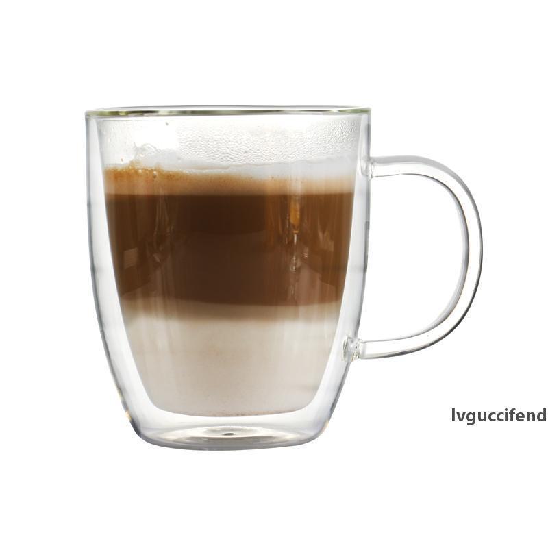 Caneca de café resistente do borossilicato do calor da parede dobro de 16 onças para bebidas misturadas do latte ou outro uso diário do suco 475ml T200506