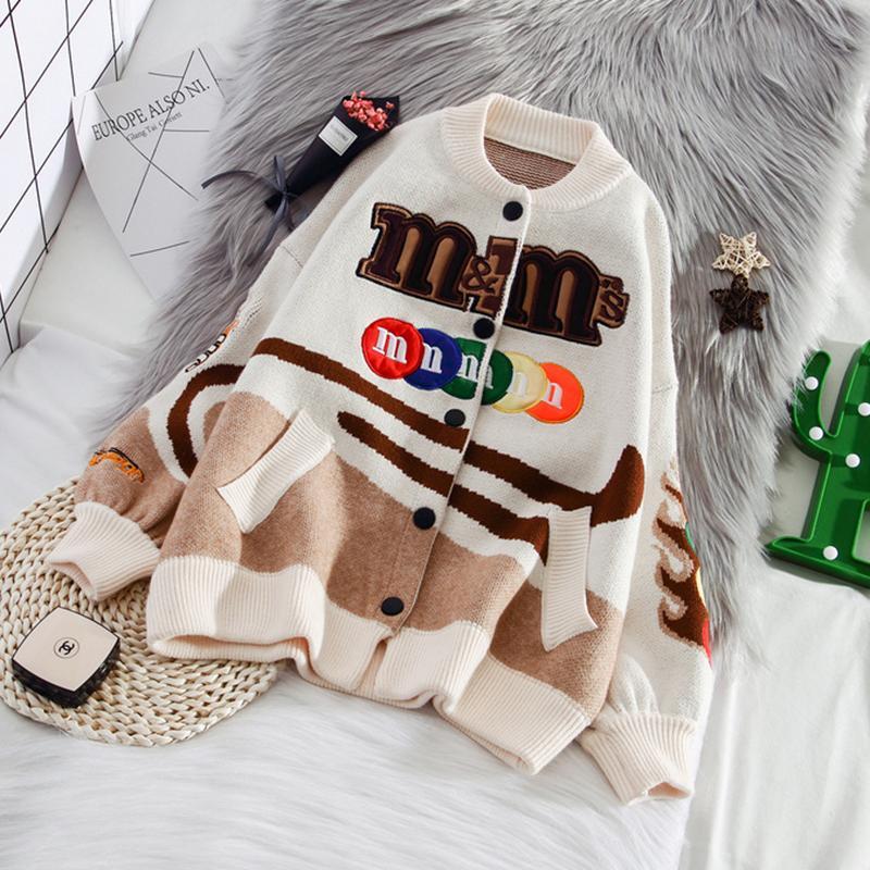 Hwlzltzht outono mulher jaqueta de malha cardigan cartoon harajuku camisola mulheres retalhos mulher casaco solto outwear 201026