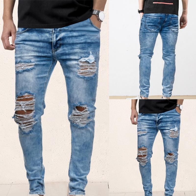 Мужские джинсы мужские разорванные для мужчин повседневные черные синие тощие тонкие подходят джинсовые брюки байкер хип-хоп с сексуальными утехами