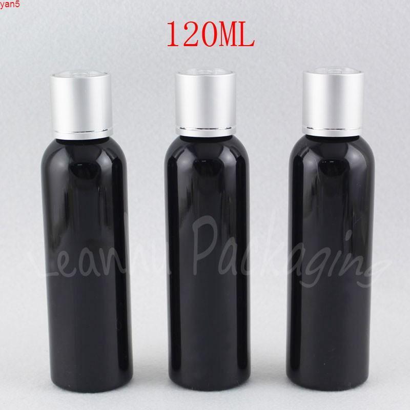 Bouteille en plastique d'épaule ronde noire de 120 ml avec capuchon en argent à disque d'argent, toner 120cc / sous-bouteille d'eau vides Conteneur CosmétiqueHigh Qualtit