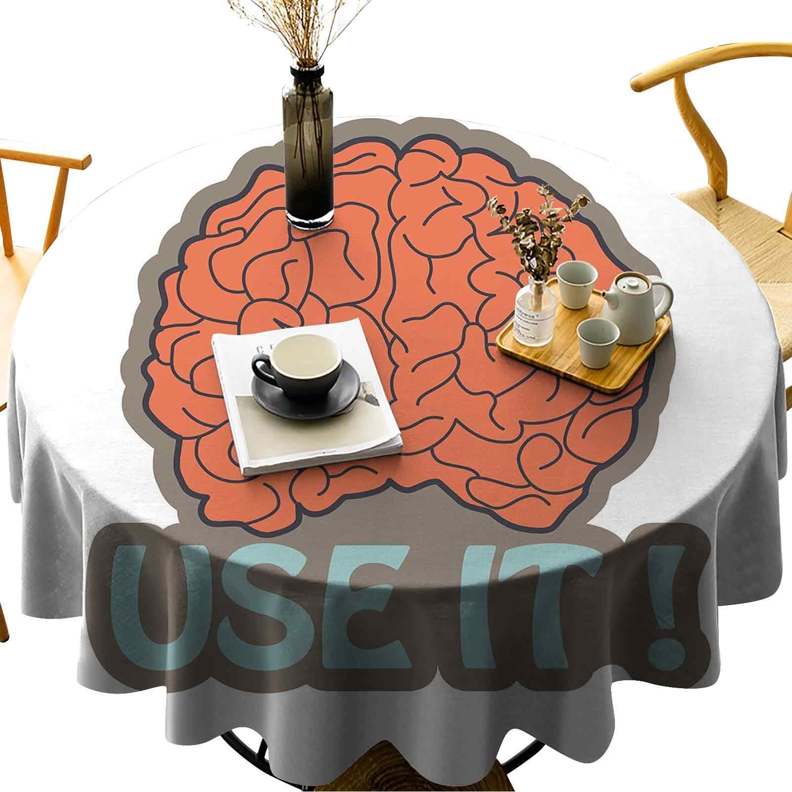 Runde Tischdecke Baumwolle Leinenstaubschutz Tischabdeckung Habe Hirnverwasung Verwenden Sie es abstrakte menschliche Intelligenz Anatomie Cerebrum Cortex Graphic