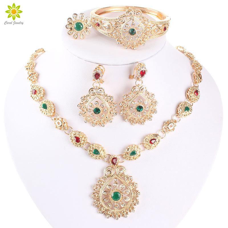 Set di gioielli da sposa africani di alta qualità in oro di alta qualità in cristallo di cristallo di cristallo del costume da sposa 201215