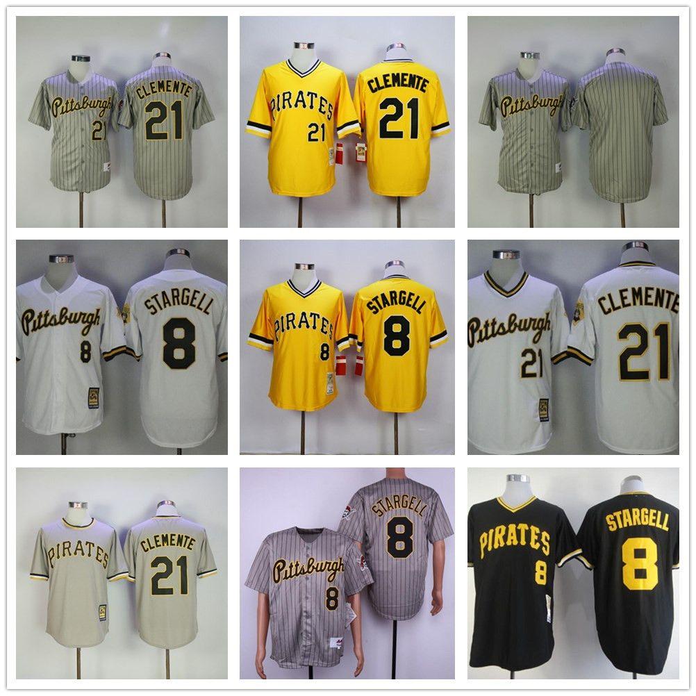 Atacado homens jersey 8 willie stargell 9 bill mazeroski # 21 clemente preto amarelo cinza branco jerseys