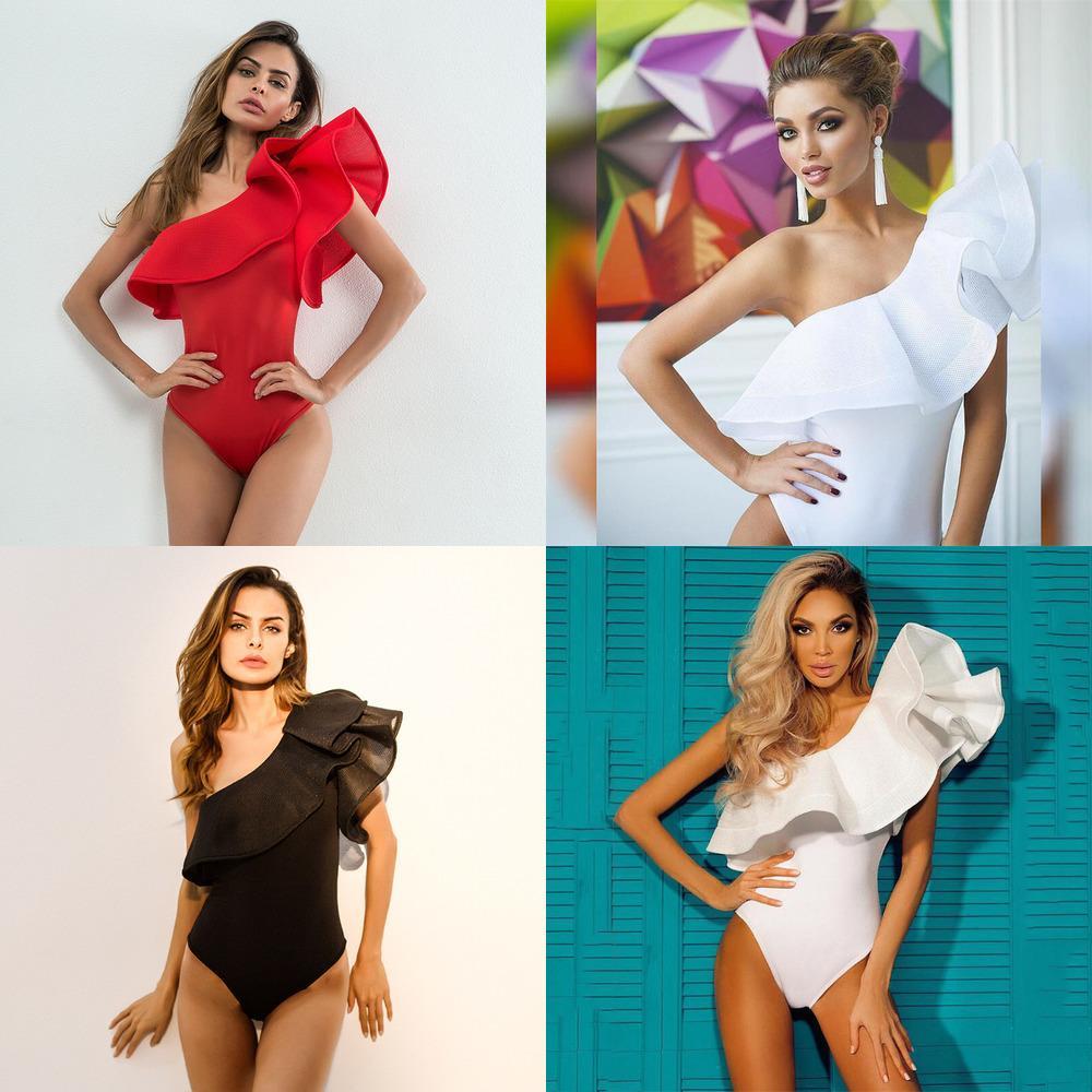 Eine Schulter Rüschen Fitness Bodysuit Frauen Kleidung Mode Sexy Hot Slim Bodycon Jumpsuits Solide Damen Bodysuits Strampler Q0104
