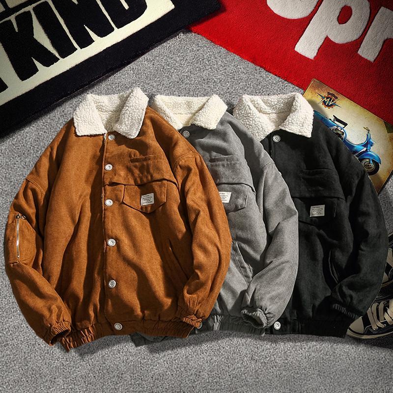 Winter Jacket Coats Men Streetwear 2020 New Fashion Jacket Men Turn Down Collar Coat Japanese Style Cashmere Outerwear Clothing
