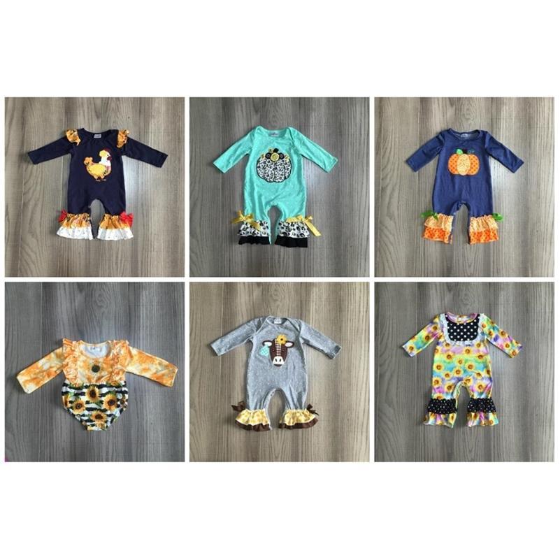 Girlymax Fall / Winter Baby Girls Ropa para niños Ropa de niño Calabaza Pollo Girasol Romper Niño Pañal Snaps Cotton Ruffles 201216