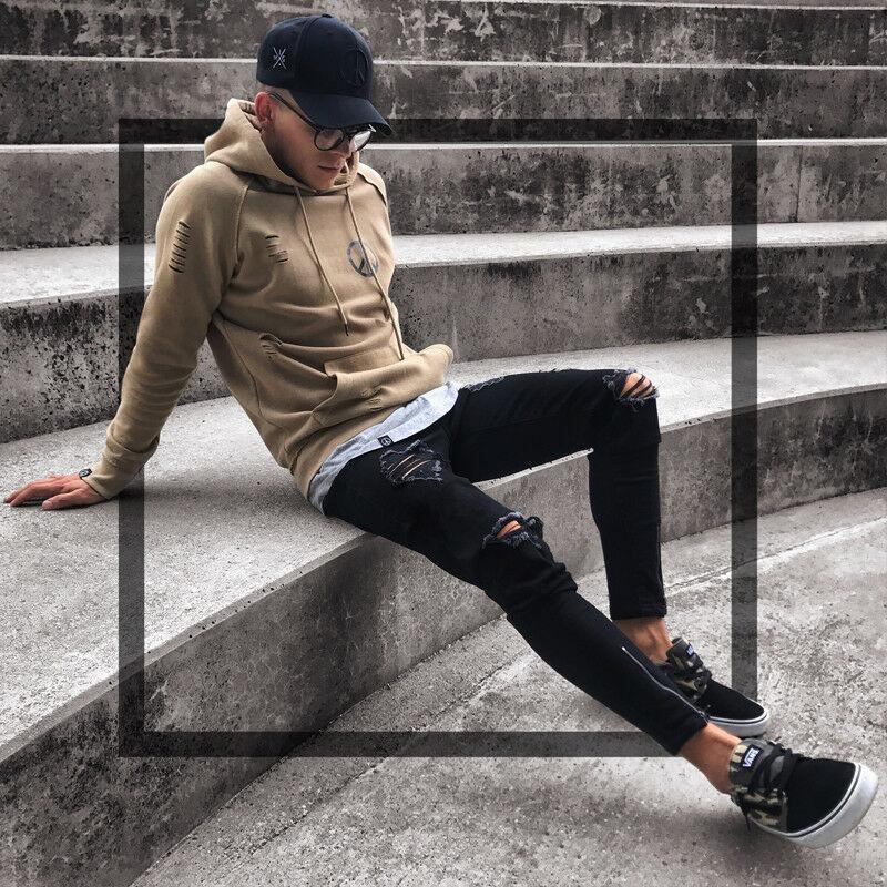 Mens Cool Designer Marque Black Jeans Skinny déchiré Détruit Stretch Slim Fit Fit Hop Hop Hop Pantalon avec des trous pour hommes