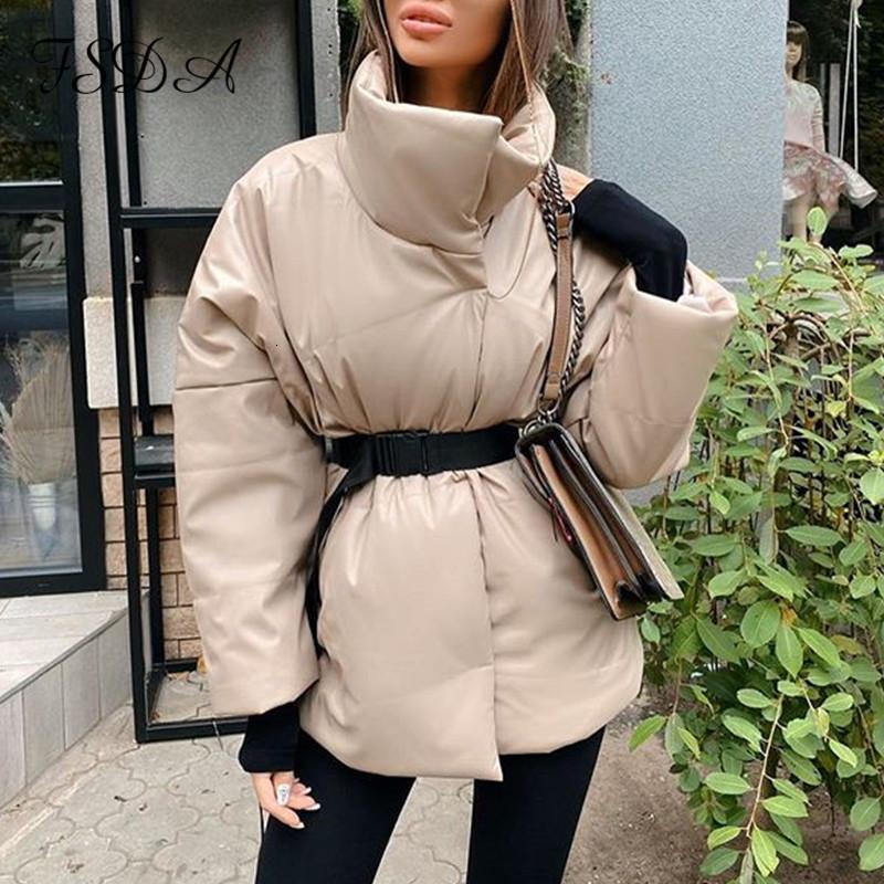Fsda Otoño Invierno Mujeres chaqueta de la capa caliente Parkas con correa ocasional 2020 bolsillo suelto burbuja color caqui Fajas corto chaquetas gruesas
