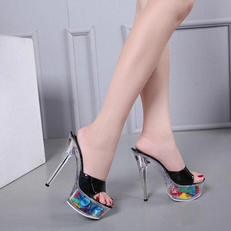Modelo Catwalk Mulheres Shoes Slippers Explosivo Sexy Floral Salto Alto Sapatos 15 cm Sandálias Crystal Wedding # Ex3a