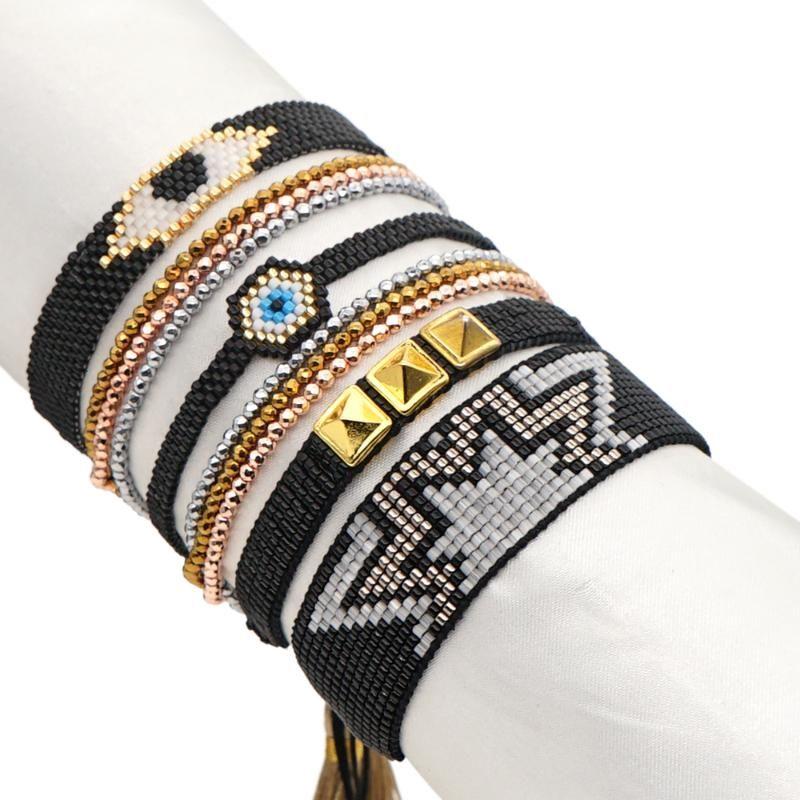 Go2boho Miyuki Evil Eye Bracelet Black Lucky Jewellery Men Rivet Jewelry 2021 Fashion Tassel Boho Friends Hematite Bracelets