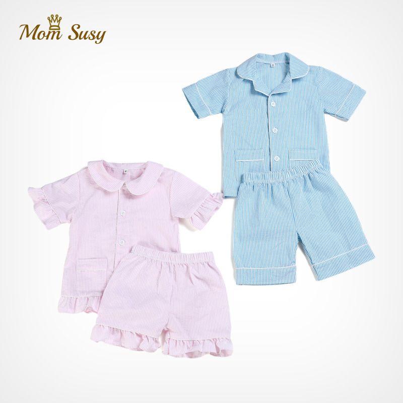 Baby Boy Girl Pajamas Sets 100% Cotton Seersucker Summer Children Sleepwear Short Sleeve Baby Bodysuit Home Suit 2PCS Clothes F1207