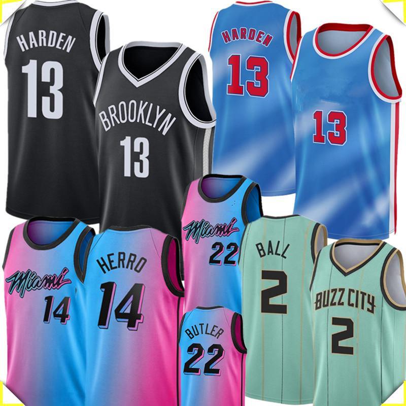 Harden New Jersey 13 Harden Lamelo 2 Ball Jersey Herro كرة السلة الفانيلة Tyler 14 Herro Jimmy 22 Butler Jersey 2020 2021