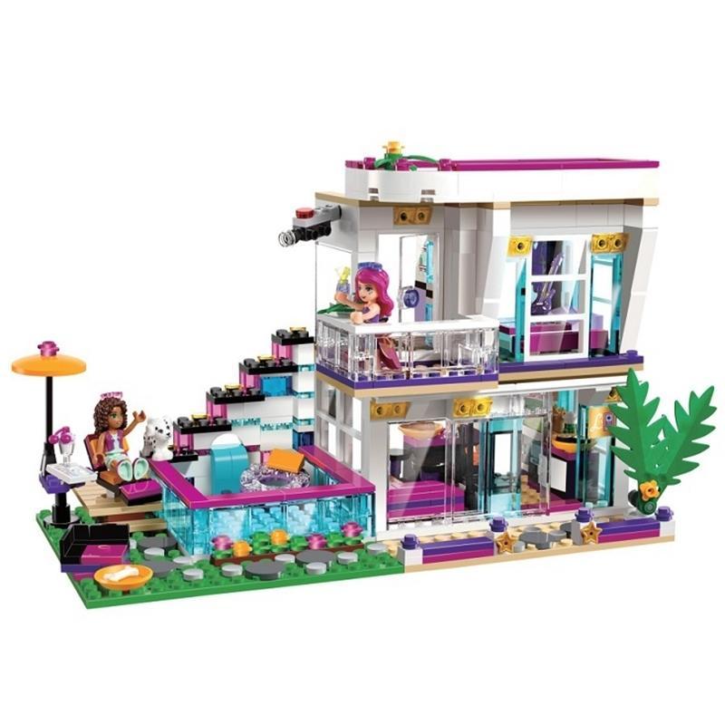 Modellgebäude Kits kompatibel Freunde 10498 Livi's Pop Star House Emma Mia Ziegel Figure Spielzeug LJ200928