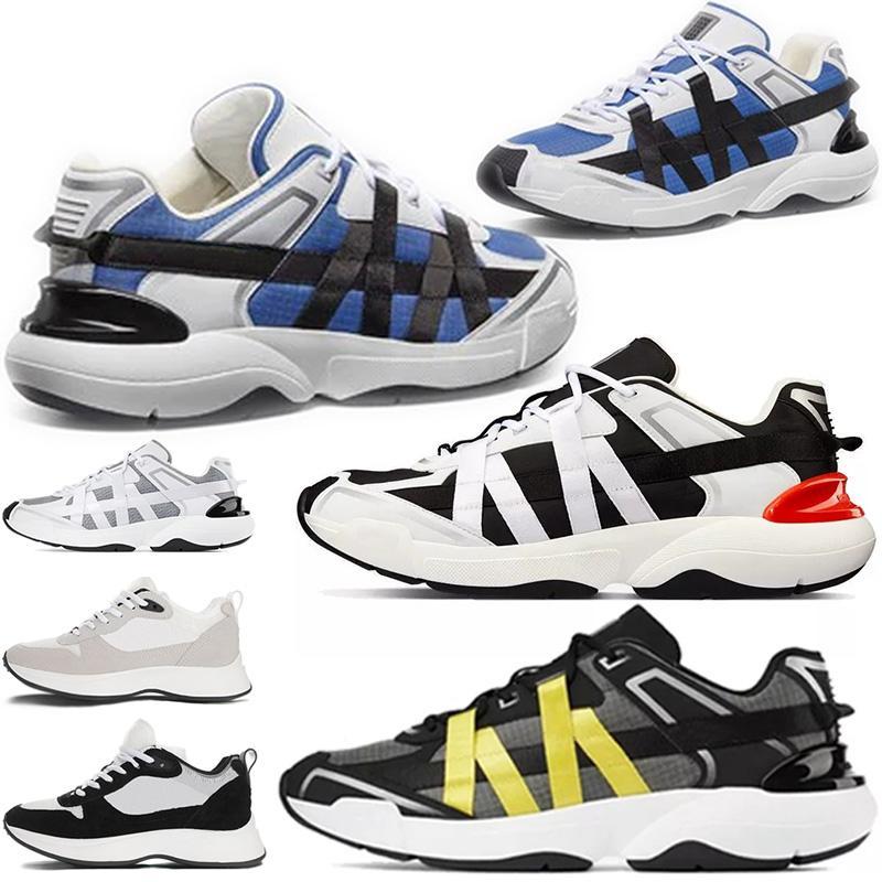 2021 Kutusu Ile En Iyi B25 Eğik Koşucu Sneaker Erkekler Platformu Ayakkabı Tasarımcılar Siyah Beyaz Süet Deri Eğitmenler Örgü Dantel-Up Rahat Ayakkabılar # 12