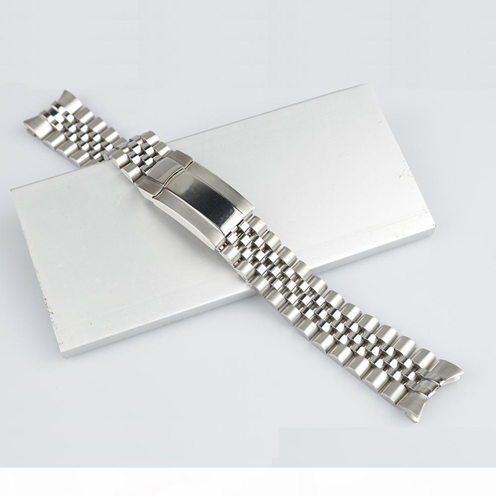 Carlywet 20mm Silber Hohe Qualität 316L Massive gekrümmte Endschraube Verbindungen Uhr Bandband Armband Jubiläum mit Austernverschluss für Master II