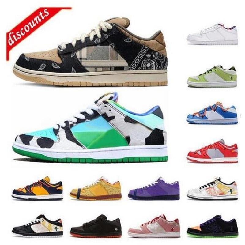 2021 남성 Dunky Lowning Shoes Chunky Dunky Cattle 스트라이프 파란색과 녹색 운동 스케이트 보드 스포츠 트레이너 무료 배송
