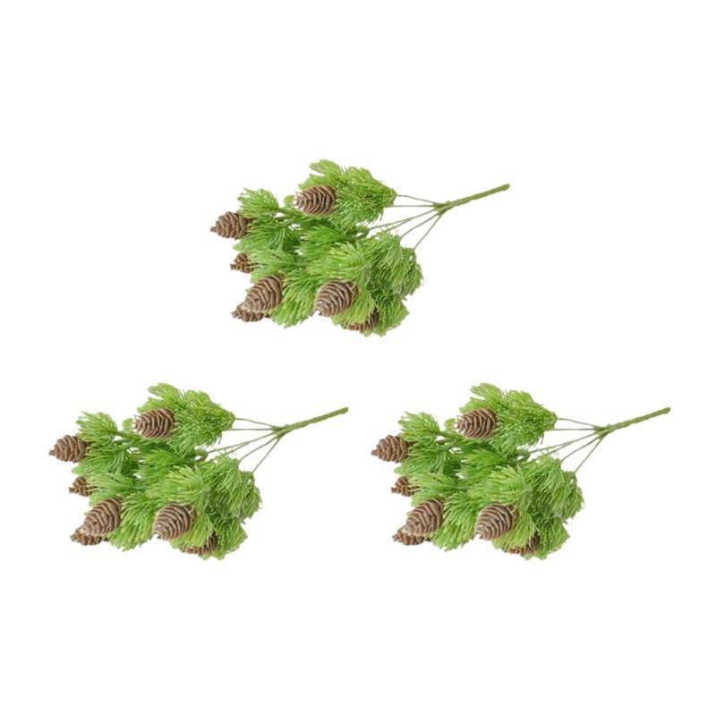 3 шт. Искусственные сосновые шишки сосны иголки для сосны растения фальшивые зеленые растения ресторан украшения цветок листья иглы
