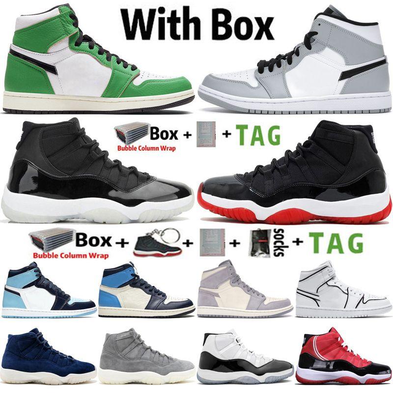 2021 Kutusu ile Yüksek OG Jumpman 1 Hiper Kraliyet Üniversitesi Mavi 1 S Erkek Basketbol Ayakkabıları 11 11 S 25. Yıldönümü Concord Bred Erkekler Sneakers Kadın Spor Eğitmenleri Boyutu 36-47