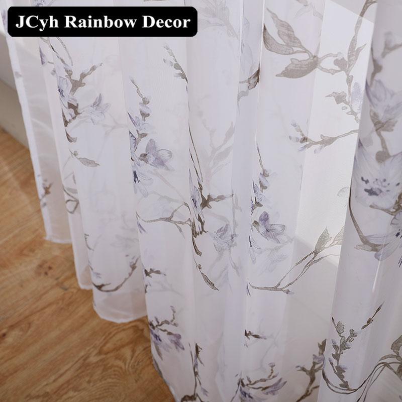 Cortinas de tul floral modernas para sala de estar Dormitorio Blue Sheer Cortinas para la ventana Voile Persianas Impresión Cortinas Tulle Cortina