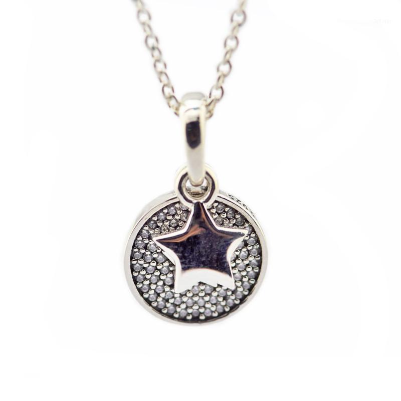 Празднование Звезды Ожерелье 925 Стерлинговые Серебряные Ювелирные Изделия Choker Ожерелья для Женщин Очистить Заявление CZ Ожерелья Круглая пенсант1