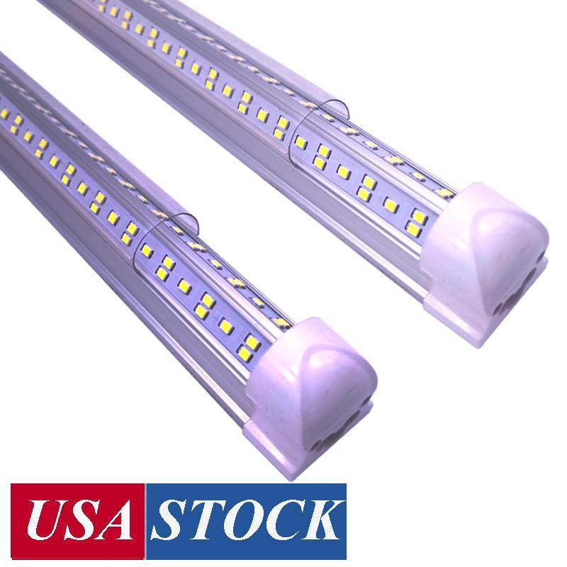8FT LED-магазинные огни, 8 футов Охладитель Двери морозильника Светодиоды Трубы освещения, 4 ряда 144W 14400 LM, V Форма Флуоресцентная четкая чешка