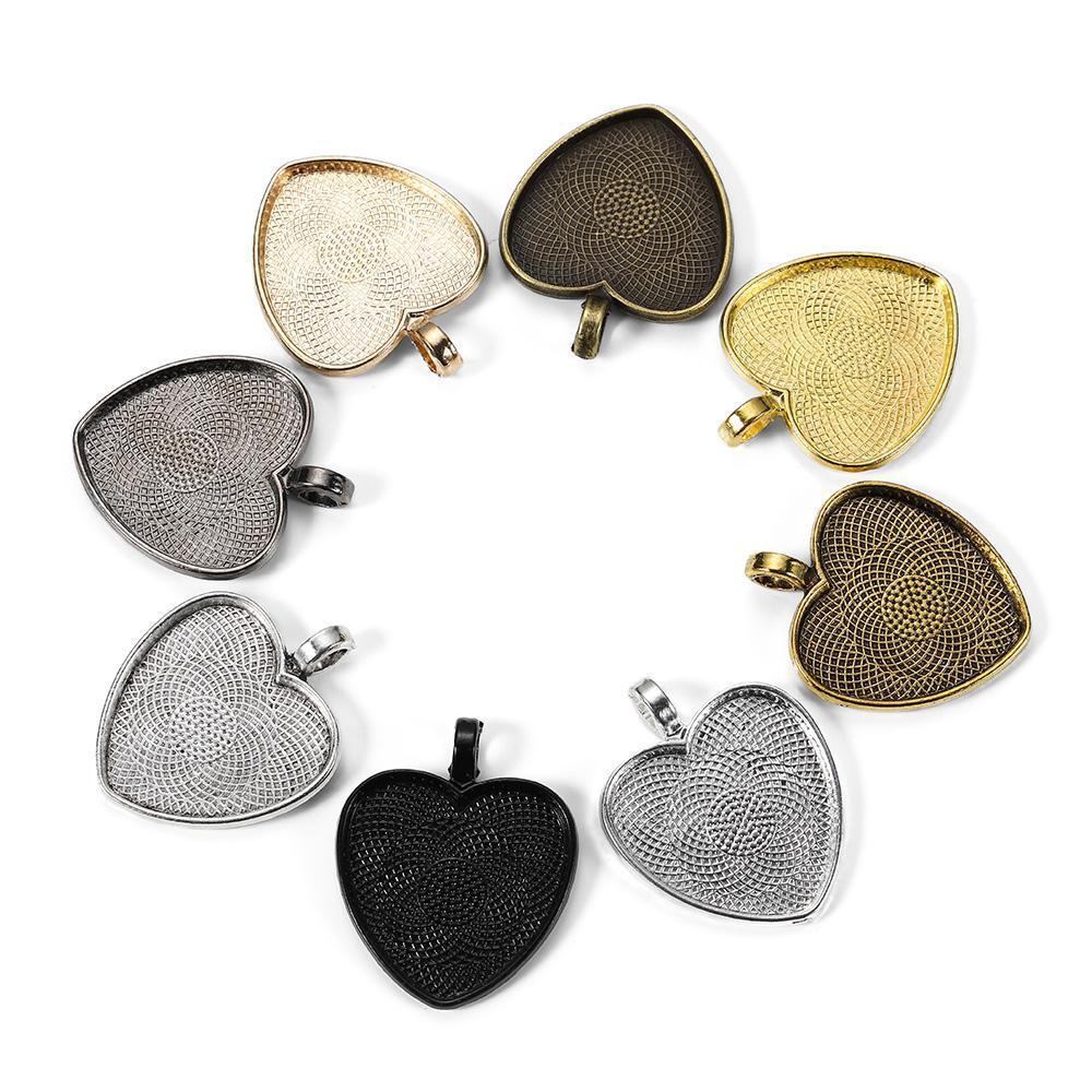 10 قطعة / الوحدة 25 ملليمتر قلادة على شكل قلب كابوشون قاعدة إعداد الحجاب النتائج ل diy مجوهرات صنع اللوازم 10 قطعة / الوحدة 25 ملليمتر س صقوقي