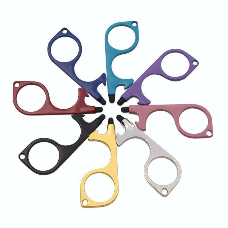 8 Renk Metal Güvenlik Dokunuşsuz Kapı Açacağı Stylus Anahtar Kanca Metal Eller Serbest Kapı Kolu Açıcı Aracı Anahtarlık Silikon Kafa HHD769 ile