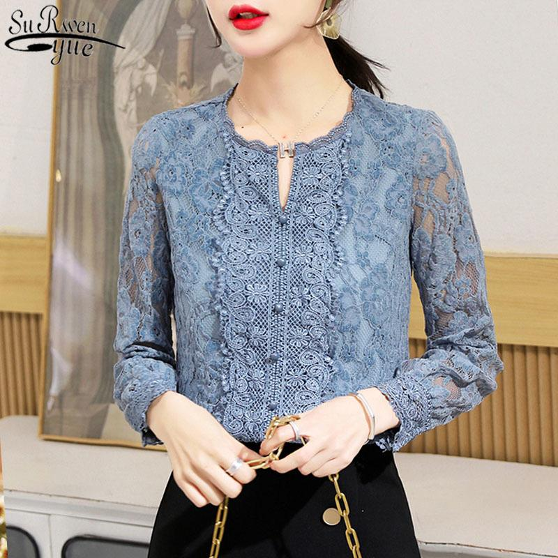 2020 Nuevo otoño floral blusa blusa mujer coreano azul encaje camisa abajo mujer oficina manga larga más tamaño damas tops 10357 F1211