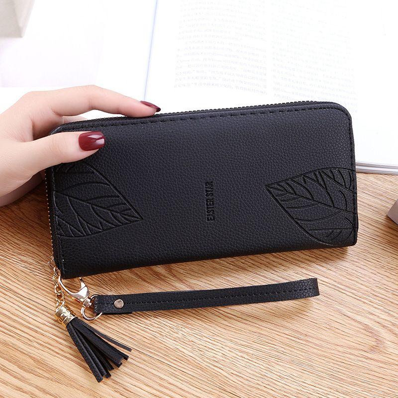 Barras grandes y bolsas femeninas de la bolsa de la bolsa de pulsera de la pulsera de la hoja de la hoja de cuero largo monederos PU Teléfono para mujer Wallet AJOPQ