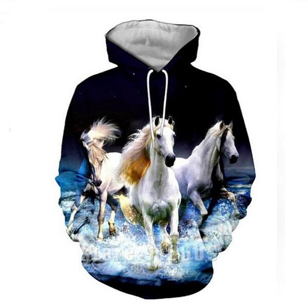Animal Horse 3D All Print Placksuits Hoodies Mujeres Hombres K27