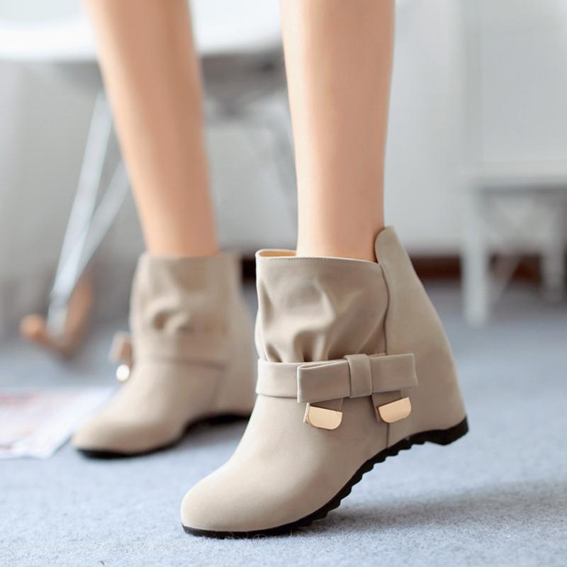 Женщины Осенние ботильоны для голеностопных ботинок Женщина Увеличение Дамы Короткие плюшевые Женские Обувь Женская Обувь Женская Теплая Обувь Плюс Размер 34-43