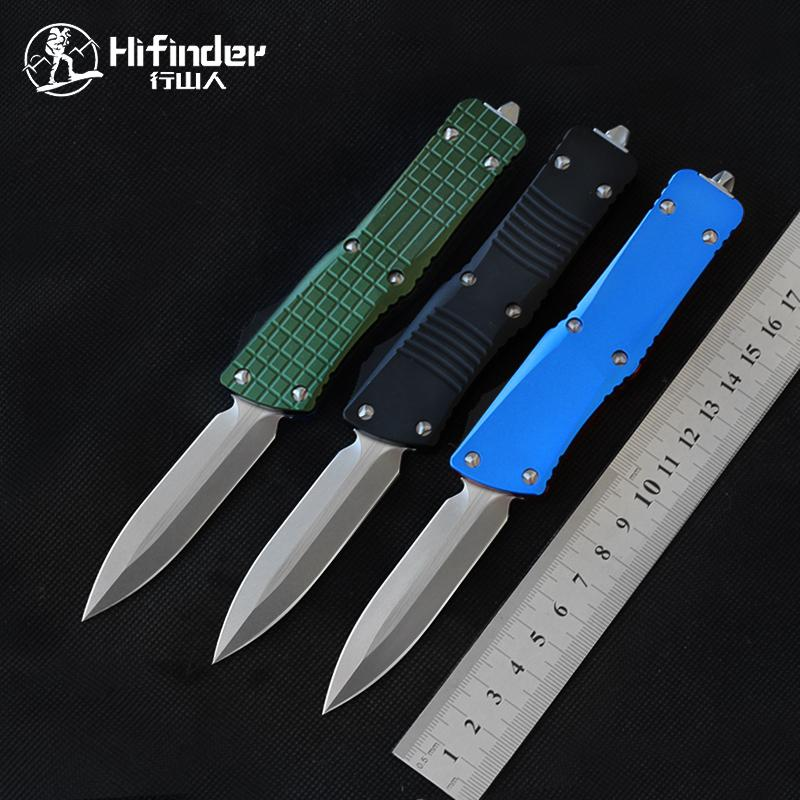 HiFinder Knife Out The Front Stone Wash Doppio Edge D2 Steel Blade Blade Coltelli di Survival Strumento di sopravvivenza Camping Coltelli tattici Pocket EDC