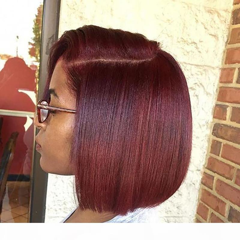 13x4 Frontal Lace Wig Borgoña 99J Color peluca 150% Pixie Corta Bob Corte Pelucas para el cabello humano para mujeres negras Preplucidada Remy Brasileño