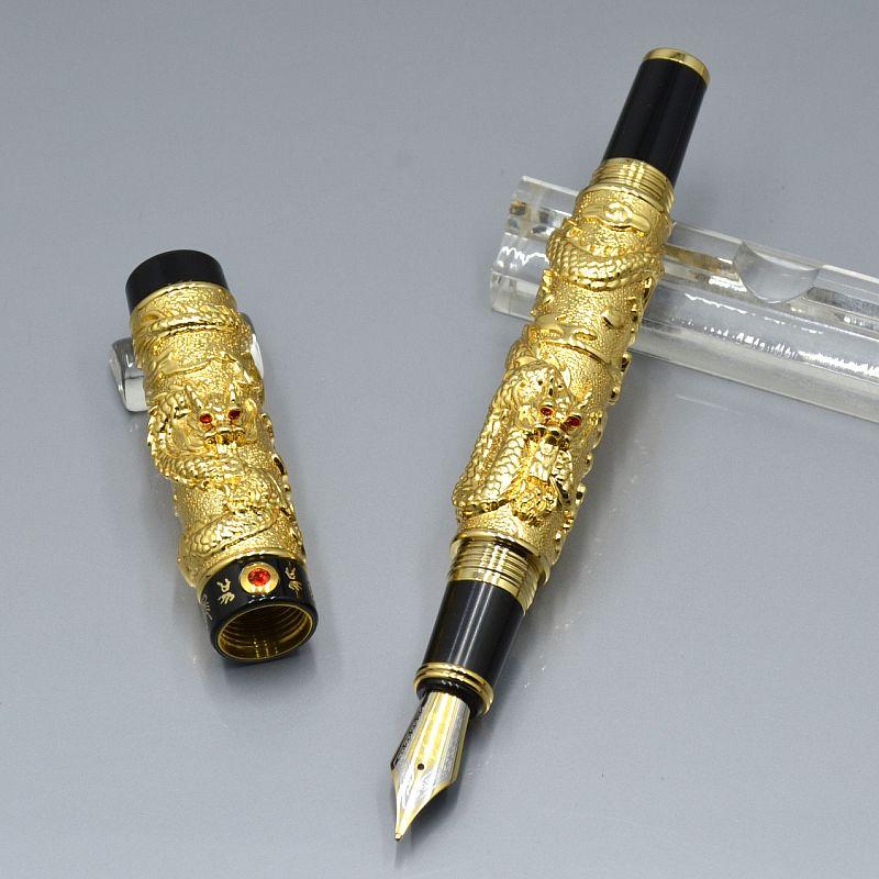 أعلى الفاخرة جينهاو ماركة 18 كيلو إيروريتا بنك غير رسمي نافورة القلم مع فريدة من نوعها تنين تنين النقش مكتب لوازم مكتبية الكتابة أقلام الحبر السلس