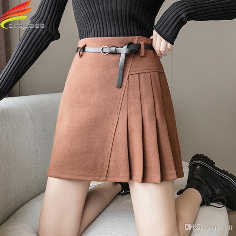 Herbst Winter 2020 Frauen Hohe Taille Wildleder Rock mit Futter Koreanischer Stil Kurzer Eine Linie Falten Damen Röcke Frei Gürtel Heißer Verkauf