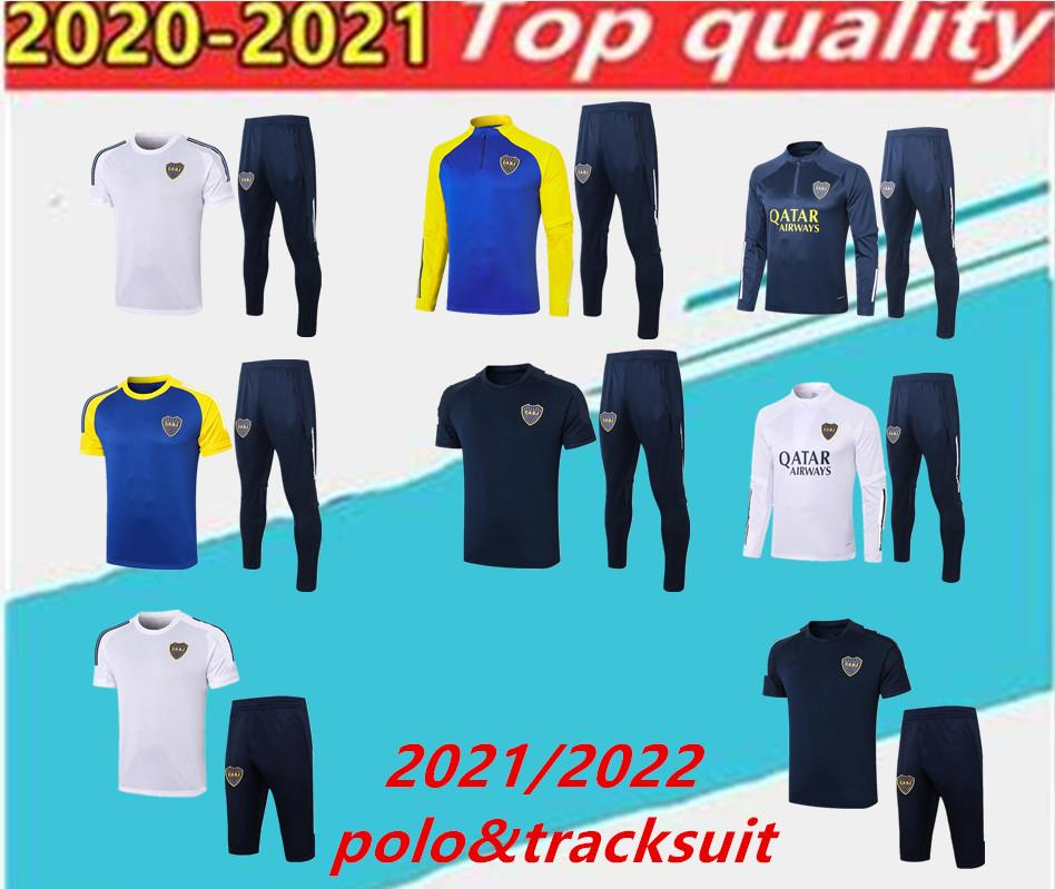 20 21 Boca Juniors Trainingsanzug. Kurzarm Capris Männer Fußball Trainingsanzug Full Sleeve Football Training Anzug Boca Polo Shirt De Rossi Set.