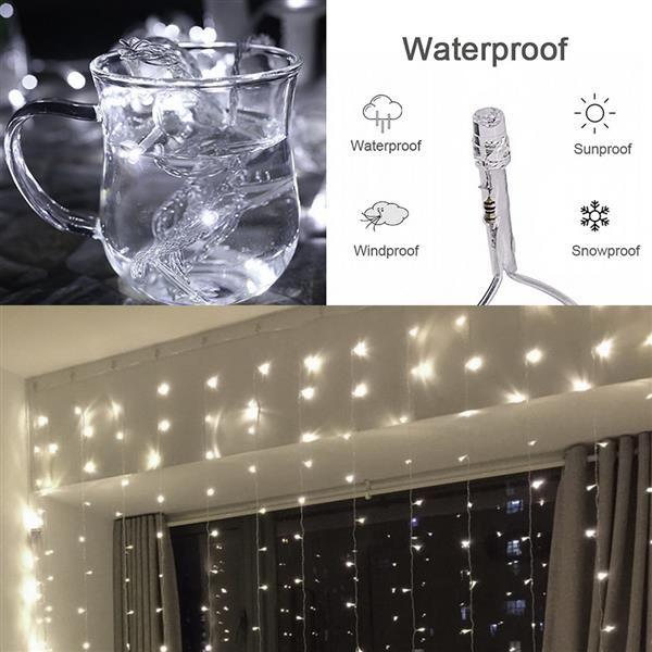 Ücretsiz teslimat 3M 3M 300 LED Beyaz Işık Romantik Noel Düğün Açık Dekorasyon Perde Dize Işık 110V toptan x