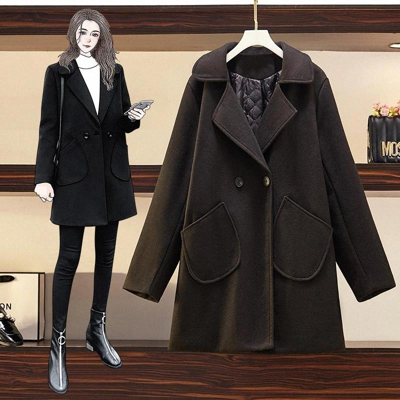 JXMYY Fashion plus size women's 2020 autumn and winter western style woolen woolen coat fat sister loose and thin coat #1x09