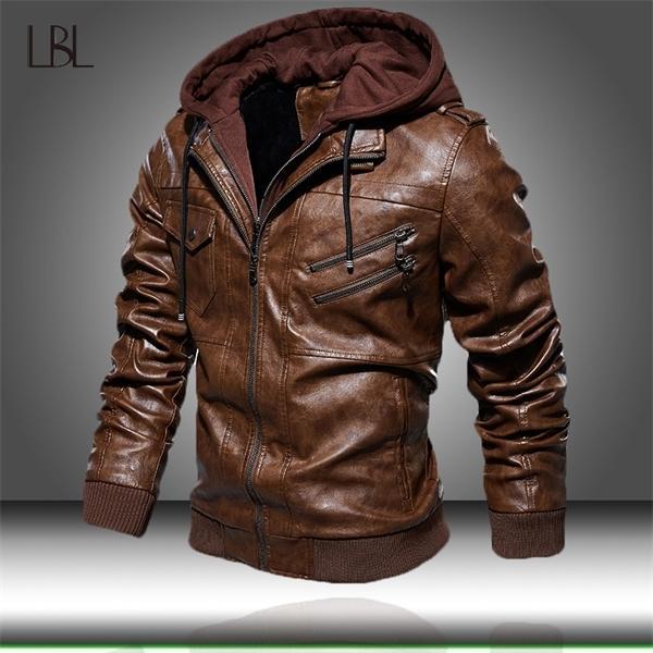 Veste en PU pour hommes Hommes Hood Hood Hood Coat Homme Homme Chaud Casual Cuir Vestes Homme Slim Fit Bomber Windbreaker C1120