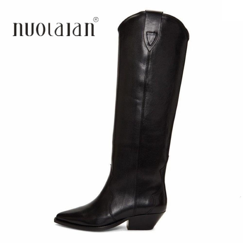 Крепеж Западный ковбой для женщин Длинные зимние ботинки заостренный носок толстые высокие каблуки женские ботинки модные туфли женщины