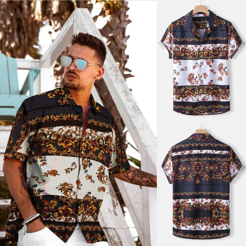 3XL Uomo Vintage Summer Shirt 2020 Nuovo Arrivo Casual Shirts Stampato Plus Size Manica corta Top Blusas Camisas Elegnaes Para1