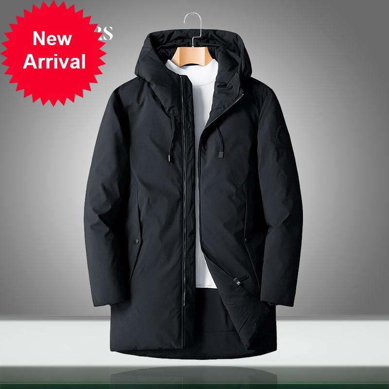 Erkekler ceketler kalın sıcak kış kapüşonlu 90% erkek ördek aşağı parka ceket rahat gevşek palto katı renk artı boyutu yüksek kalite