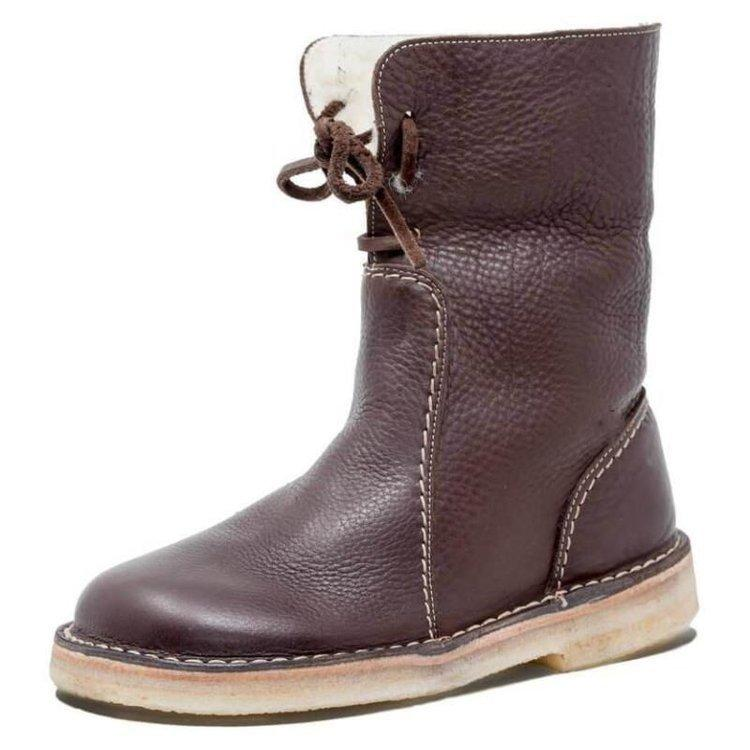 New winter women's boots Keep warm low-heel casual boots Brown fur retro fashion short-tube snow boots cheap women's shoes